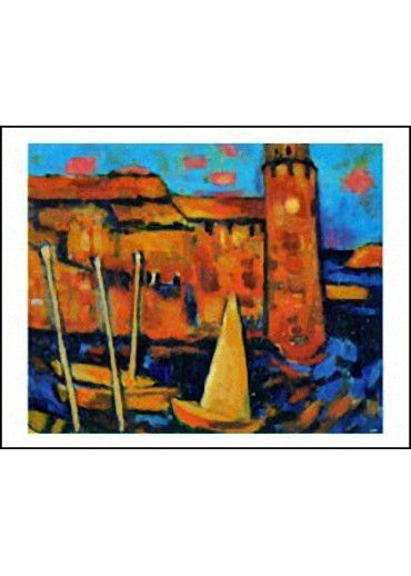 Le Clocher de Collioure et les Barques Catalanes